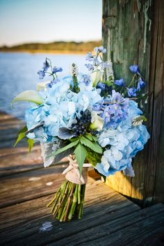 Beautiful wedding bouquet with nautical theme. Check out the oyster shells.
