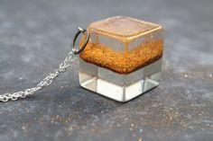 Cube pendant Glitters pendant Resin jewelry by MeelikiCreations
