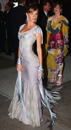 Gisele went with a light-blue gown, complete with allover fringe, for the 2003 Met Gala.