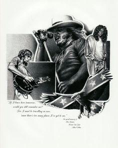 Lynyrd Skynyrd Original Sketch Prints - Poster Size - Black & White - Print of Highly-Detailed, Handmade Drawing By Artist Mike Duran   http://citymoonart.com/lynyrd-skynyrd-original-sketch-prints-poster-size-black-white-print-of-highly-detailed-handmade-drawing-by-artist-mike-duran/