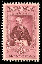 U.S. postage stamp commemorating the 200th Anniversary of the Birth of the Marquis de Lafayette