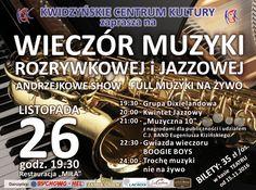 [26.11.2016] Wieczór muzyki rozrywkowej i jazzowej – Kwidzyńskie Centrum Kultury
