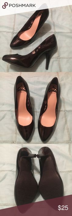 "NWOT black heels Basic black patent leather style heels. NWOT. Never worn. 4"" heel. Fergalicious Shoes Heels"