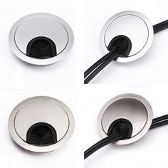 4x passe câble fil métal argenté avec brosse noir diamètre 58mm/68mm pour bureau in Bricolage, Autres | eBay