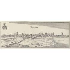 Greifswald, Festung, Kirche, Rathaus, Kloster, Stadtmauer, Tiere, Mecklenburg-Vorpommern, Kupferstich, Fototapete Merian