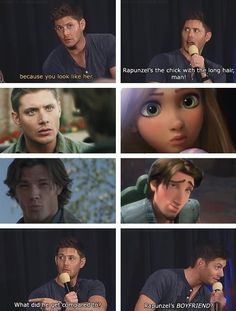 hahaha...Rapunzel. oh Jensen  Jensen Ackles / Jared Padalecki / Supernatural