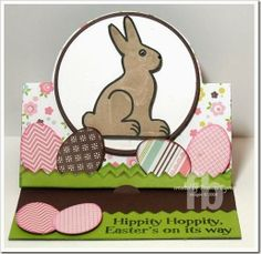 Hippity Hoppity created by Frances Byrne using Sizzix Circle Stand Ups Card Die and The Stamps of Life's ChocolateBunny2Stamp