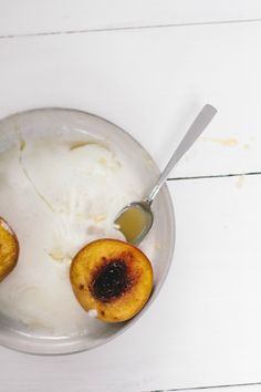 roasted peaches with crème fraîche caramel sauce + a giveaway