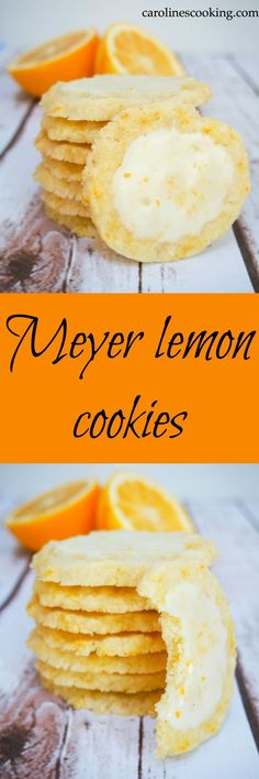 *COPIED These Meyer lemon cookies are a wonderful balance of fresh citrus, sweetness and melting crumbliness. So good, a delicious cookie plate addition. Meyer Lemon Recipes, Lemon Desserts, Just Desserts, Delicious Desserts, Dessert Recipes, Yummy Food, Bar Recipes, Summer Desserts, Recipes