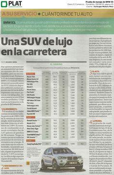 Inchcape Motors: Prueba de rendimiento del BMW X3 en el diario El Comercio de Perú (09/08/14)