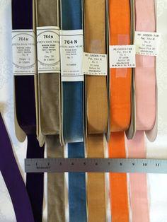 Vintage Velvet Ribbons. Made in Switzerland. Narrow Ribbons, Gift Wrap Ribbons, Holiday Ribbons by AnafrezNotions on Etsy