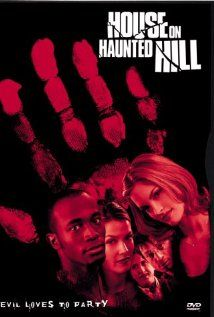 (Remake) House on Haunted Hill (1999), J Entertainment and Dark Castle Entertainment with Geoffrey Rush, Famke Janssen, Taye Diggs, Peter Gallagher, Chris Kattan, and Ali Larter. (Remake of a 1958 movie starring Vincent Price.) Fun movie!