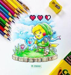 Artist: Itsbirdy | Legend of Zelda | Pokemon | Pikachu | Link