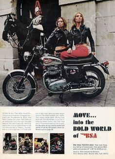 A 1968 advertisement featuring the BSA Lightning Thunderbolt motorcycle. Dressed in tight red leather pants and sporting leather jacket. These women are ready to take a ride in London. Quite the sass
