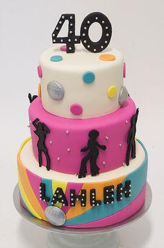 Disco Birthday Cake by studiocake, via Flickr 40th Cake, 40th Birthday Cakes, Birthday Ideas, Disco Theme, Disco Party, Mini Cakes, Cupcake Cakes, Disco Cake, Dance Cakes