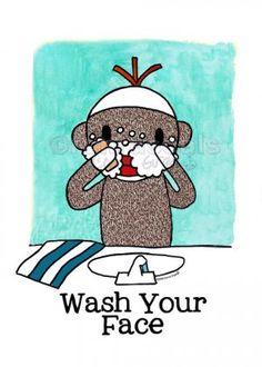 monkey love ♥ wash ur face