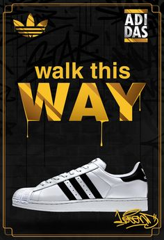 Es un proyecto escolar, dedicado a la publicidad de los tennis Adidas Super Star, con el estilo del grupo leyenda del hip hop RUN DMC.It is a school project, dedicated to the advertising of Adidas Super Star Shoes, with the style of the legendary hip ho… Mila Superstar, Adidas Superstar, Run Dmc, Sneaker Posters, Running Posters, Streetwear, Adidas Shoes Outlet, Sneaker Art, Hip Hop Outfits