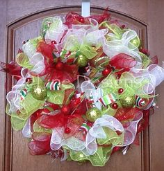 Ruffled Christmas deco mesh wreath by DeLinedesigns on Etsy, $70.00