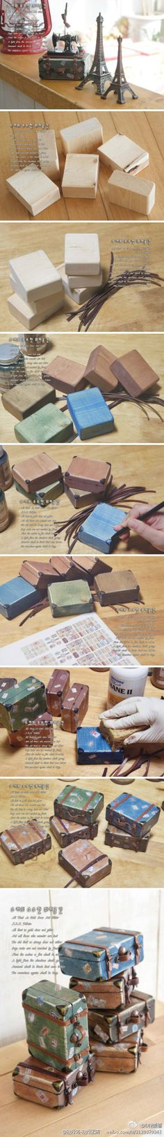 DIY mini retro suitcase with small pieces of wood to