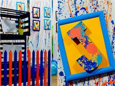 James' Art Attack / Painting Themed Party – Stage Backdrop Craft Party, Party Themes, Backdrops, Arts And Crafts, Display, Stage, Birthday Backdrop, Artist, Painting