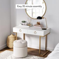 Leighton Prohibition Desk with Drawers, White and Gold Finish - Home Design, Decor Interior Design, Design Ideas, Interior Colors, Interior Paint, Deco Baby Shower, Bedroom Desk, Bed Room, Bedroom 2018