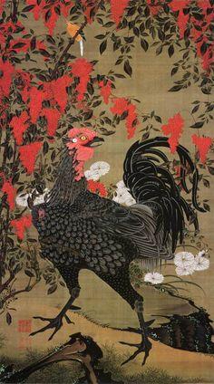 ito jakuchu: arte, cor e vida na era edo Japanese Artwork, Japanese Painting, Japanese Prints, Era Edo, Edo Period, Rooster Tattoo, Japanese Bird, Japanese Water, Art Chinois