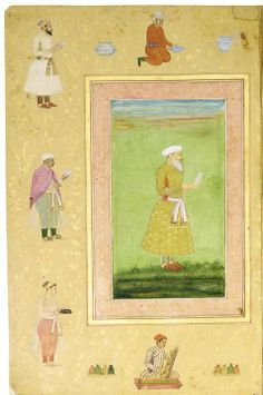 Fazil Khan better known as Ala-ul-Mulk Tuni. He was the Khan Saman (Master of Logistics) of the Mughal Emperor Shah Jahan and arrived from Persia in 1633-34 and died in 1663. Here he is seen holding a list of inventory.