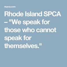 """Rhode Island SPCA – """"We speak for those who cannot speak for themselves."""""""