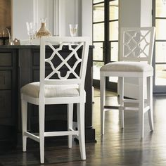 Tommy Bahama Home Ivory Key <b> Customizable </b>  Newstead Bar Stool with Quatrefoil Splat Back