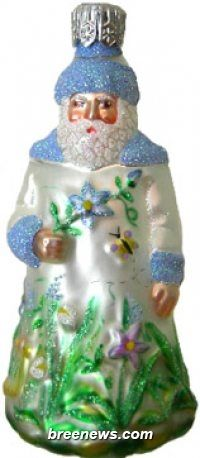 Miniature Rainforest Santa (Pearl, Periwinkle Trim) Patricia Breen Designs (Blue, Butterflies, Flowers, Green, Pearl/white, Periwinkle)