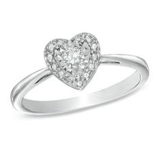 I've tagged a product on Zales: 1/10 CT. Diamond Solitaire Heart Miracle Promise Ring in Sterling Silver - Size 7