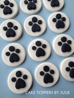 12 Paw Print Toppers by CakeToppersByJulie on Etsy, $12.00