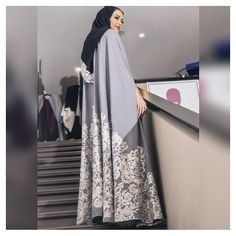 Dressed in a beautiful abaya designed by Mai Shiha, fashion blogger and makeup… Arab Fashion, Fashion Line, Muslim Fashion, Modest Fashion, Abaya Dubai, Mode Abaya, Mode Hijab, Modest Wear, Modest Outfits