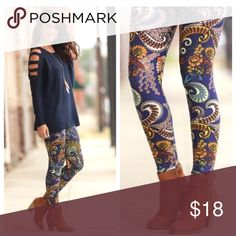 """NEW PLUS SIZE paisley leggings Super soft leggings. 92% polyester 8% spandex. Navy Paisley print. Comparable to Lularoe leggings but these have an elastic waistband. Plus Size fits sizes 12-18. Bundle and save!  I am listing them as size 16 so they show up in plus size searches but the size is """"plus size"""", not a numerical size. Infinity Raine Pants Leggings"""