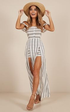 Thinking Bout You Maxi Dress In White Stripe | Showpo