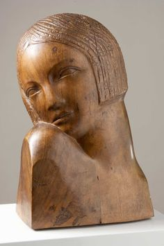 """With this small-sized portrait, Stijović showed that there is no thematic division in his opus, but that """"Stijović the portraitist is on the same level as . Ceramics Projects, Art Projects, Female Head, Writing Art, Ceramic Figures, Wood Sculpture, Art Techniques, Art Google, Pet Birds"""