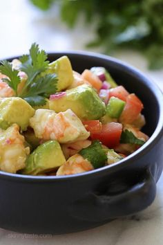 Zesty Lime Shrimp and Avocado Salad a delicious healthy salad made with shrimp avocado tomato lime juice jalapeno and cilantro. No cooking required and super EASY! Gluten-free low-carb clean eating paleo and low calories. Healthy Recipes, Healthy Salads, Low Carb Recipes, Salad Recipes, Healthy Eating, Cooking Recipes, Meal Recipes, Avocado Recipes, Whole30 Recipes