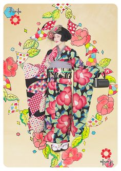 """The large mod flower designs on these furisode mark them out as vintage-modern. Furifu has done a great job combining """"clashing/matching"""" patterns and colors, all in the same size and family, but with. Traditional Kimono, Traditional Fashion, Traditional Outfits, Japanese Kimono, Japanese Girl, Japanese Style, Geisha, Yukata Kimono, Kimono Fabric"""