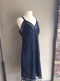 749462de45 1960 s Navy Blue Lorraine Slip   60s Vintage Lace XL Nightgown   1960s  Pyjamas Lingerie
