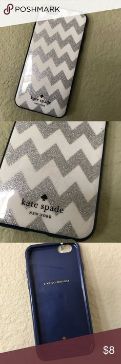 Kate Spade iPhone 6 case Kate Spade iPhone 6 case; used; silver glitter details, navy blue lining; hard plastic; works very well; minor scratches (see pictures) but no dents or knicks. Super cute! kate spade Accessories Phone Cases