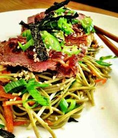 Nutritiously Nood: Japanese Inspired Cold Green Tea Soba Noodle Salad with Seared Beef