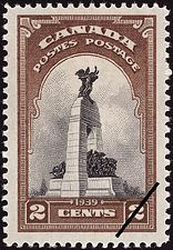 Canadian Postal Archives Database    Postal Administration: Canada     Title: National Memorial, Ottawa     Denomination: 2¢     Date of Issue: 15 May 1939