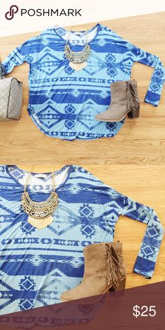 Aztec Printed Dolman Top in Blue Funky and fun Aztec printed dolman long sleeve top perfect for a chilly day paired with boots and jeans! Worn once. Reasonable offers only, no trades. Bundle with 3 items for 20% off 💖✨ Tops Tunics