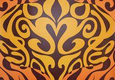 Woodstock Wallpaper Yellow, orange and black kaleidoscope wallpaper