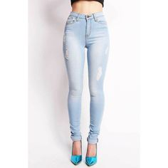 Ultra Lite High Waist Skinnys | Jeggings at Pink Ice ($50) ❤ liked on Polyvore featuring pants, ripped jeggings, 5 pocket pants, high-waist trousers, high waisted jeggings and white pants