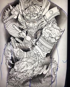 backpiece i sketched up for a client. Japanese Back Tattoo, Japanese Dragon Tattoos, Japanese Tattoo Designs, Japanese Sleeve Tattoos, Samurai Back Tattoo, Samurai Warrior Tattoo, Warrior Tattoos, Samurai Drawing, Samurai Artwork