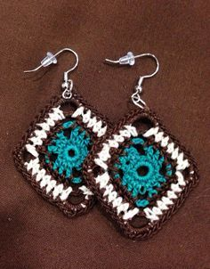 Funky Aztec Design Crochet earrings in Brown, Teal and Cream on Etsy, $12.00