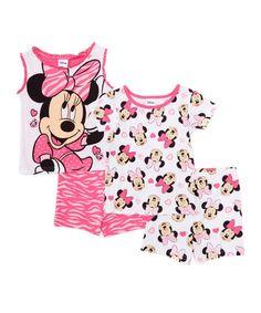 Another great find on #zulily! White & Pink Zebra Minnie Mouse Four-Piece Pajama Set - Toddler #zulilyfinds