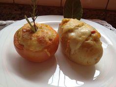 Tomate e Batata Recheados com Strogonoffe de Camarão / Frango
