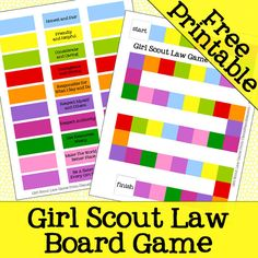 Girl Scout Law Board Game Free Printable - Are you a girl scout leader or parent… Girl Scout Law, Daisy Girl Scouts, Girl Scout Leader, Scout Games, Girl Scout Activities, Brownie Girl Scouts, Girl Scout Cookies, Girl Scout Promise, Girl Scout Badges